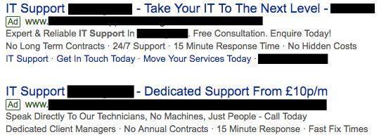 Google Ads - what a weak advert looks like