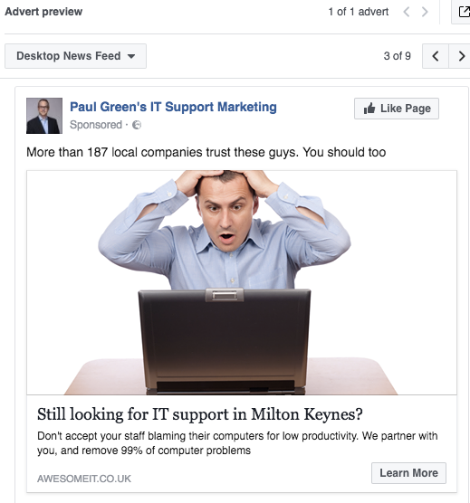 Facebook Ad Preview  Paul Green's MSP Marketing