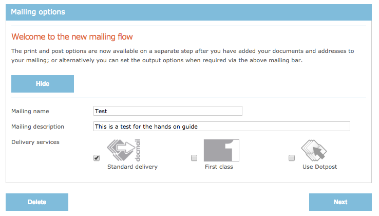 Mailing options in DocMail