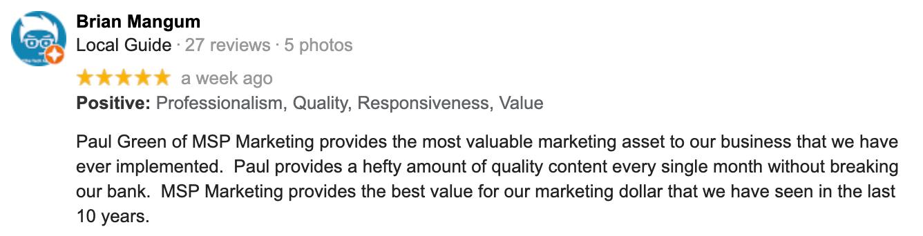 Brian Mangum | Google Review | Paul Green's MSP Marketing