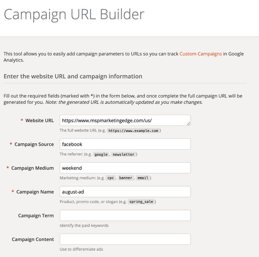 Campaign URL Builder | Paul Green's MSP Marketing