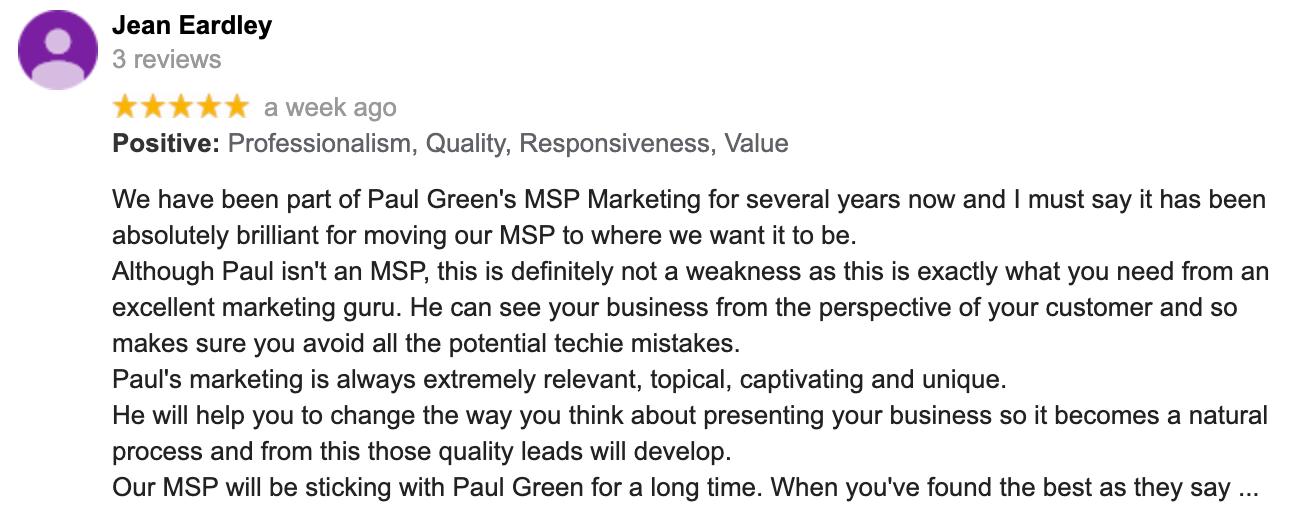 Jean Eardley   Google Review   Paul Green's MSP Marketing