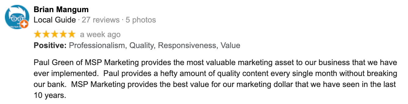 Brian Mangum   Google Review   Paul Green's MSP Marketing